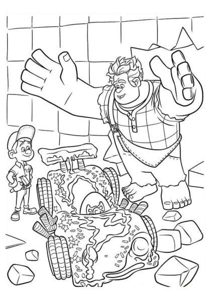 Раскраска Мастер Феликс–младший и Ральф скачать или распечатать