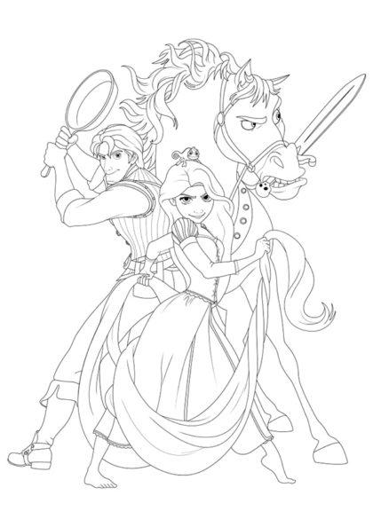 Раскраска Рапунцель, Паскаль, Юджин и Максимус | Чудо ребенок