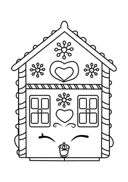 Раскраска Шопкинс Пряничный домик скачать или распечатать