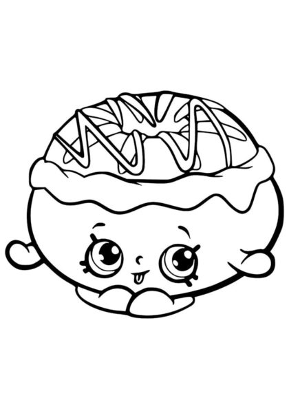 Раскраска Шопкинс Пончик с кремом скачать или распечатать