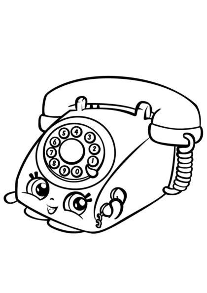 Раскраска Шопкинс Милый Телефон скачать или распечатать
