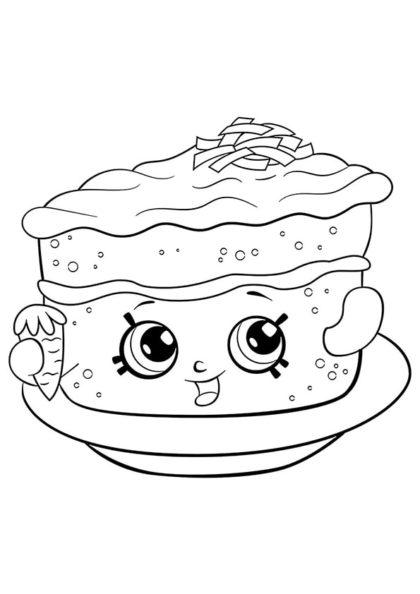 Раскраска Шопкинс Морковный пирог Кара скачать или распечатать