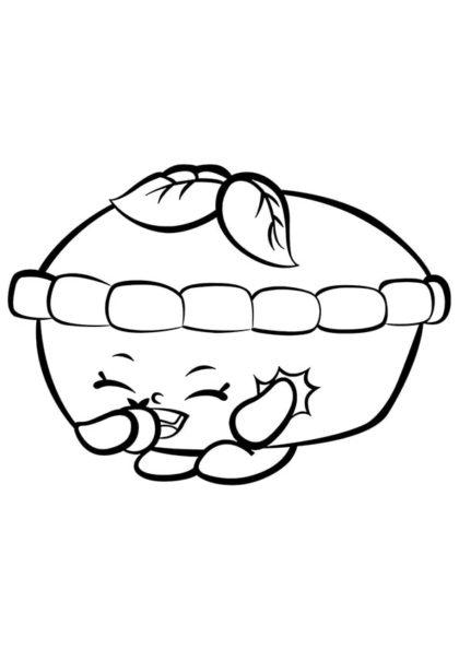 Раскраска Шопкинс Пирожок Яблочко скачать или распечатать