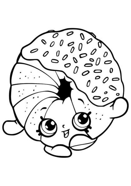 Раскраска Шопкинс Пончик Диппи скачать или распечатать