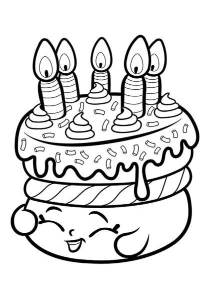 Раскраска Шопкинс торт Желание скачать или распечатать