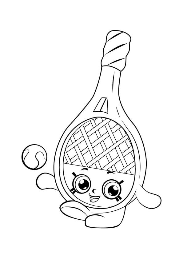 Раскраска Шопкинс Теннисная ракетка | Шопкинс | Чудо ребенок