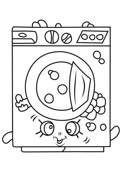 Раскраска Шопкинс Стиральная машина скачать или распечатать