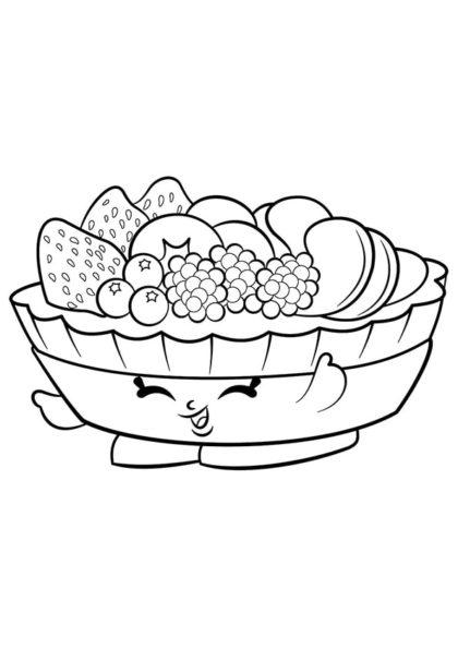 Раскраска Шопкинс Фруктовый пирог скачать или распечатать
