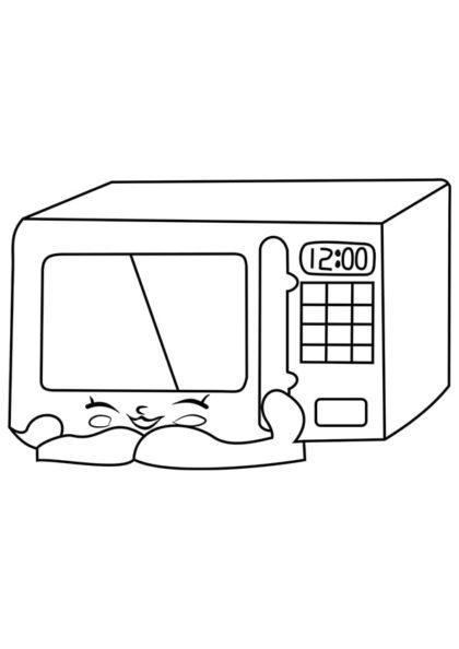 Раскраска Шопкинс Микроволновая печь скачать или распечатать