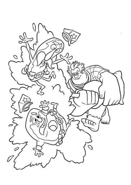 Раскраска Ральф сражается с полицией пончиков скачать или распечатать