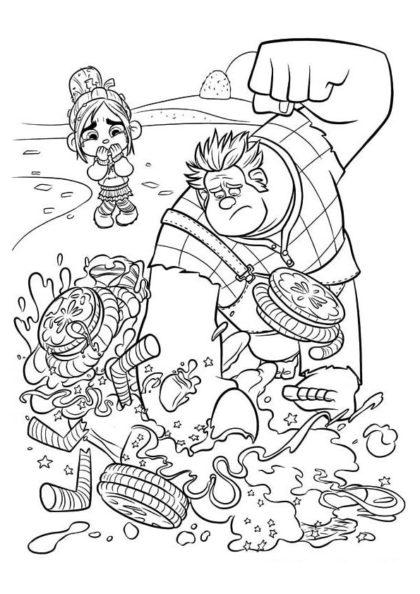 Раскраска Ральф крушит карт Ванилопы скачать или распечатать