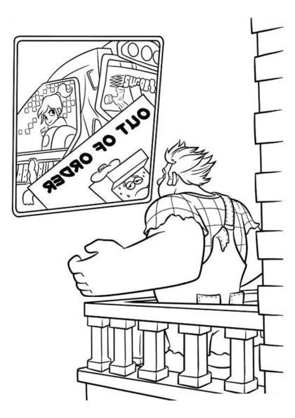 Раскраска Ральф видит игровой автомат Ванилопы скачать или распечатать
