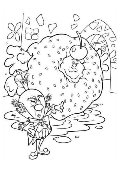 Раскраска Ральф в гигантском кексе скачать или распечатать
