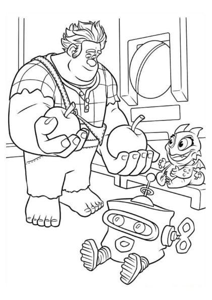 Раскраска Ральф делится яблочками скачать или распечатать