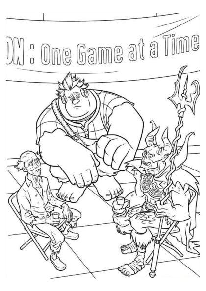 Раскраска Ральф и содружество игровых злодеев скачать или распечатать