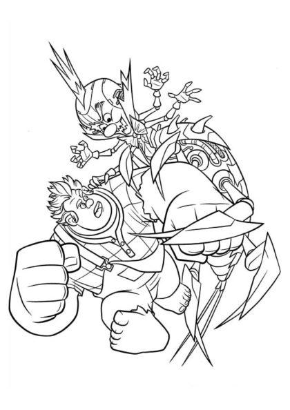 Раскраска Кибер–Король Карамель и Ральф сражаются скачать или распечатать