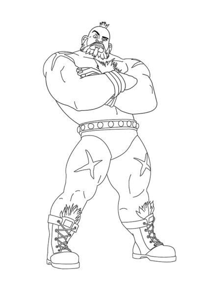 Раскраска Зангиев представитель игры Street Fighter II скачать или распечатать