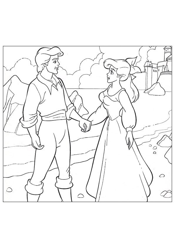 Раскраска Ариэль и Эрик держатся за руки | Русалочка ...