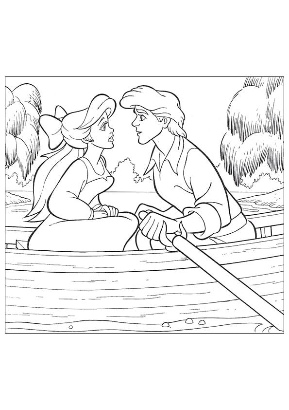 Раскраска Ариэль и Эрик в лодке | Русалочка | Чудо ребенок
