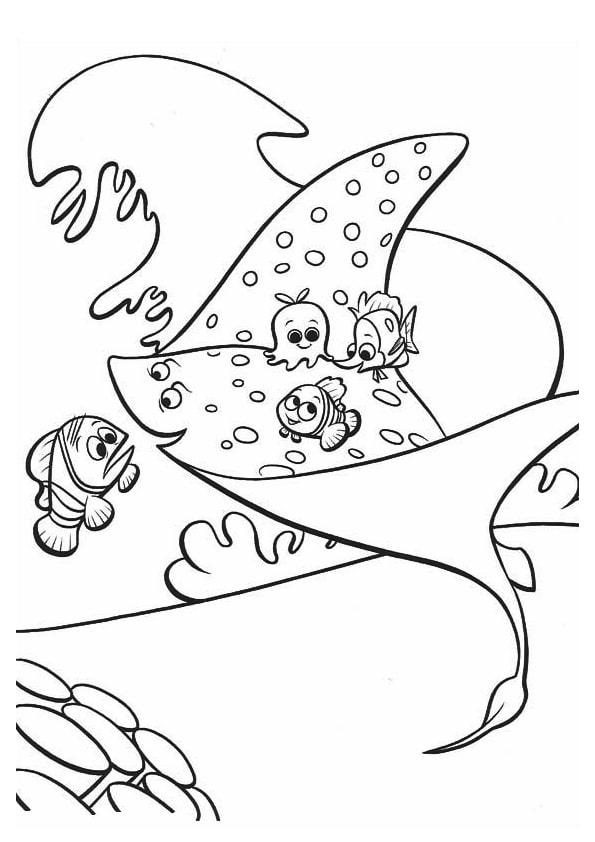 Раскраска мистер Скат учитель | В поисках Немо | Чудо ребенок