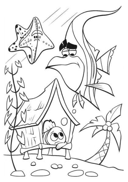 Раскраска рыбка-клоун тоскует | В поисках Немо | Чудо ребенок