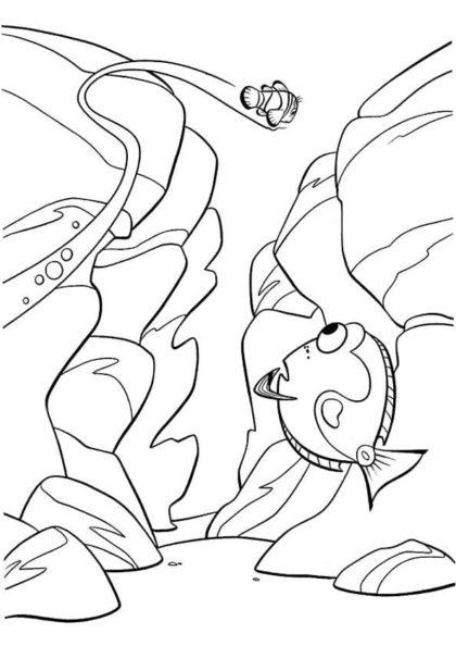 Раскраска Марлин плывёт над ущельем скачать или распечатать