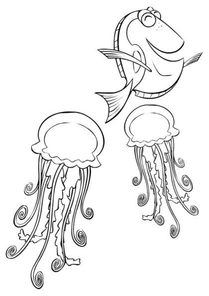 Раскраска Дори играет с медузами скачать или распечатать