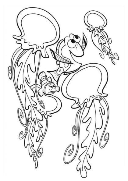 Раскраска Марлин предостерегает Дори скачать или распечатать