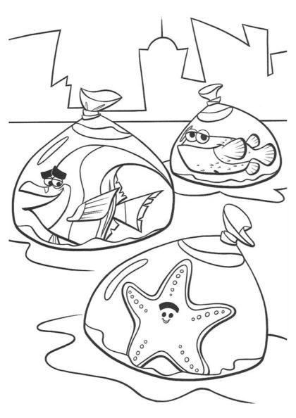 Раскраска побег аквариумных рыбок скачать или распечатать