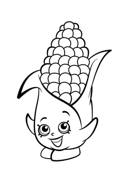 Раскраска Шопкинс Кукурузный початок скачать или распечатать