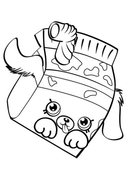Раскраска Шопкинс Молочный пакет скачать или распечатать