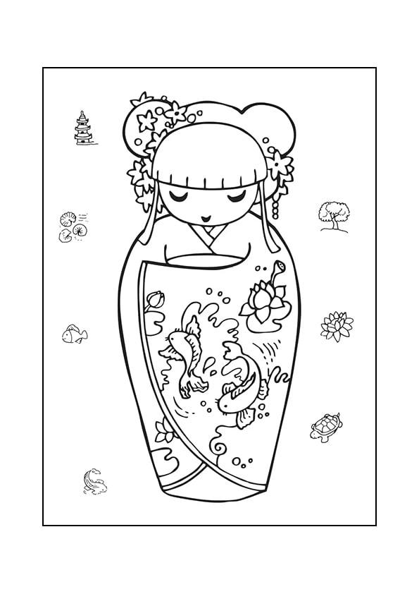 Раскраска Кокеши «Золотая рыбка» | Японские куклы | Чудо ...