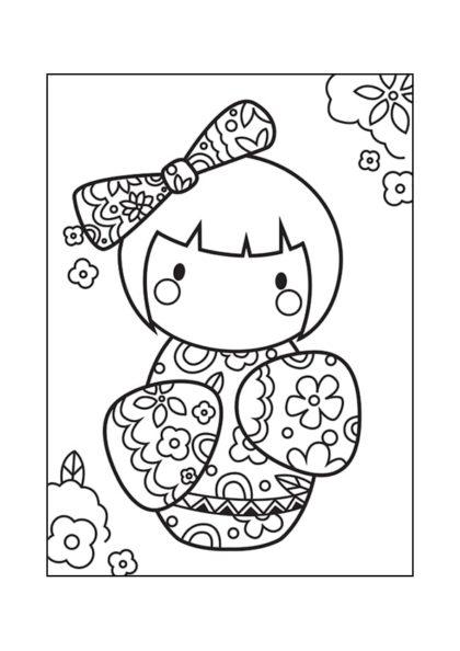 Раскраска Кокеши «Весенние цветы» | Японские куклы | Чудо ...