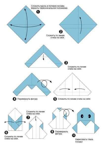 Поделки из бумаги оригами пингвин пошаговая схема скачать или распечатать