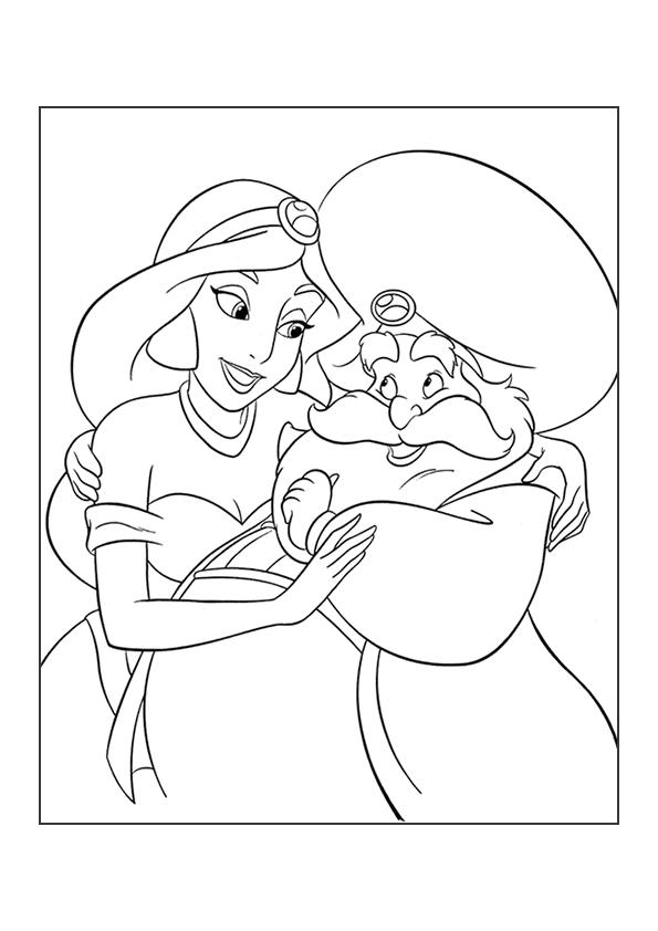 Раскраска Жасмин и Султан | Аладдин | Чудо ребенок