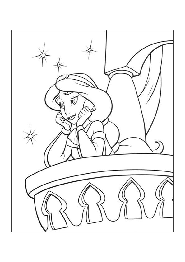 Раскраска принцесса Жасмин мечтает | Чудо ребенок