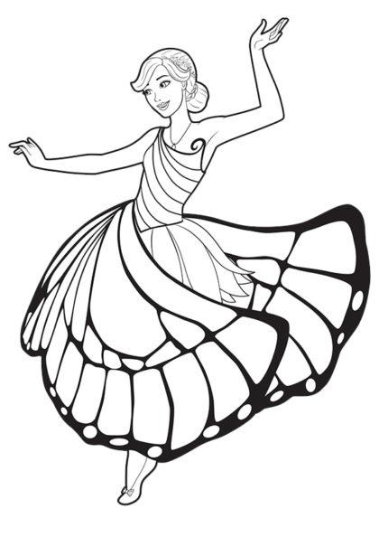 Раскраска фея-бабочка Марипоса в танце скачать или распечатать