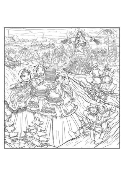 Раскраска Народное гулянье во время Масленицы скачать или распечатать