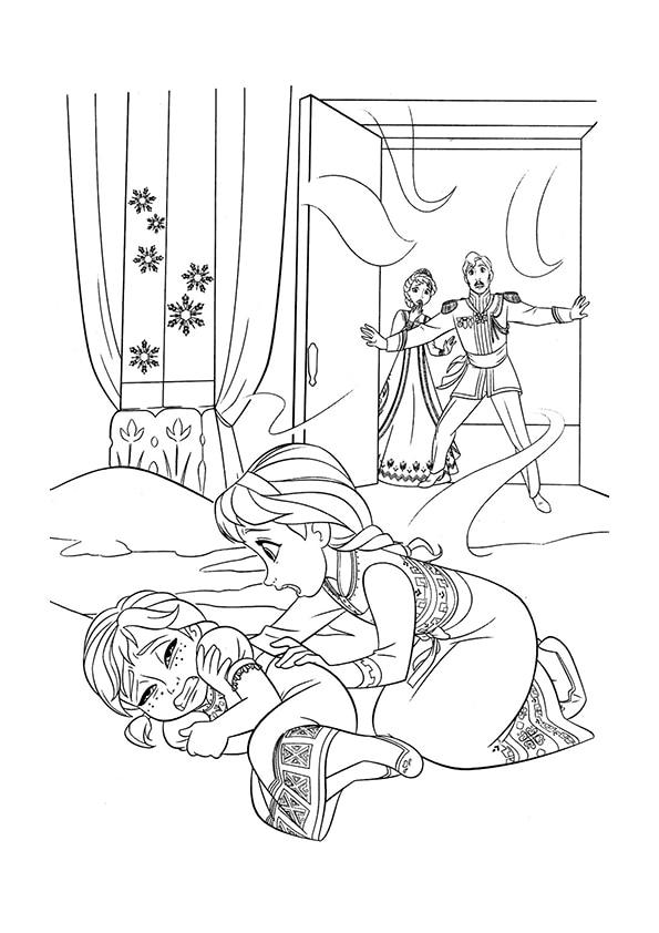 Раскраска Эльза касается Анны | Холодное сердце | Чудо ребенок