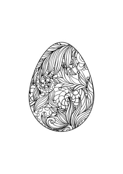 Раскраска писанка лиственный орнамент скачать или распечатать