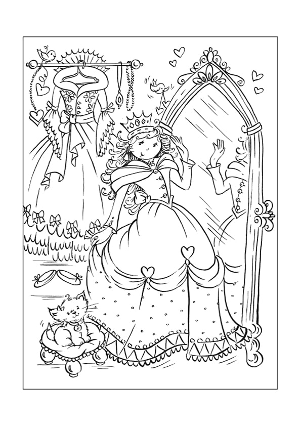 Раскраска роскошный будуар Принцессы | Чудо ребенок