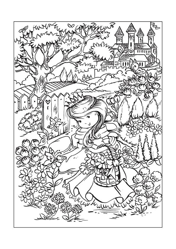 Раскраска Принцесса в цветущем саду | Чудо ребенок