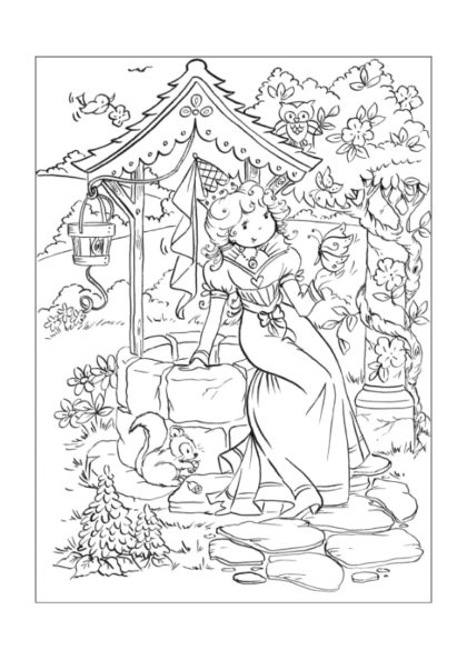 Раскраска Принцесса у колодца | Чудо ребенок