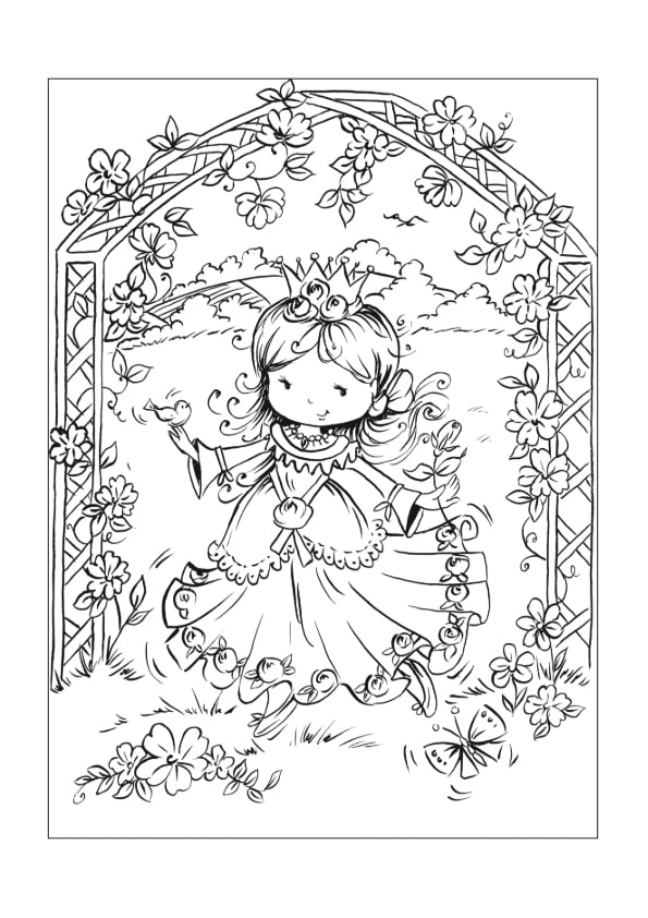 Раскраска Принцесса в беседке | Чудо ребенок