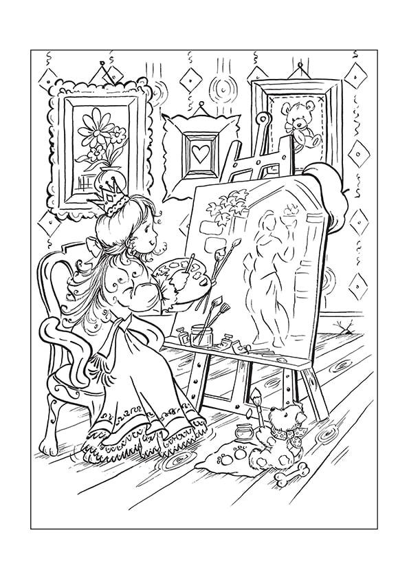 Раскраска Принцесса за мольбертом | Чудо ребенок