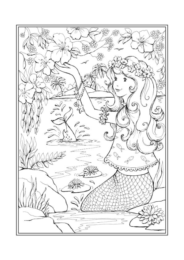 Раскраска Русалочка и цветы | Чудо ребенок