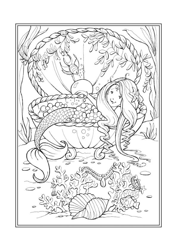 Раскраска Русалочка отдыхает в ракушке | Чудо ребенок