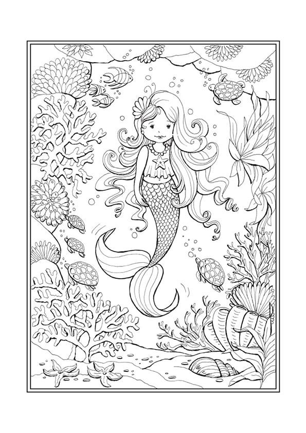 Раскраска Русалочка и подводный мир | Чудо ребенок