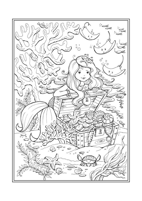 Раскраска Русалочка и сундук сокровищ | Чудо ребенок