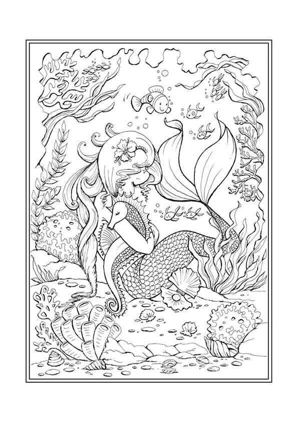 Раскраска Русалочка и морской конёк | Чудо ребенок